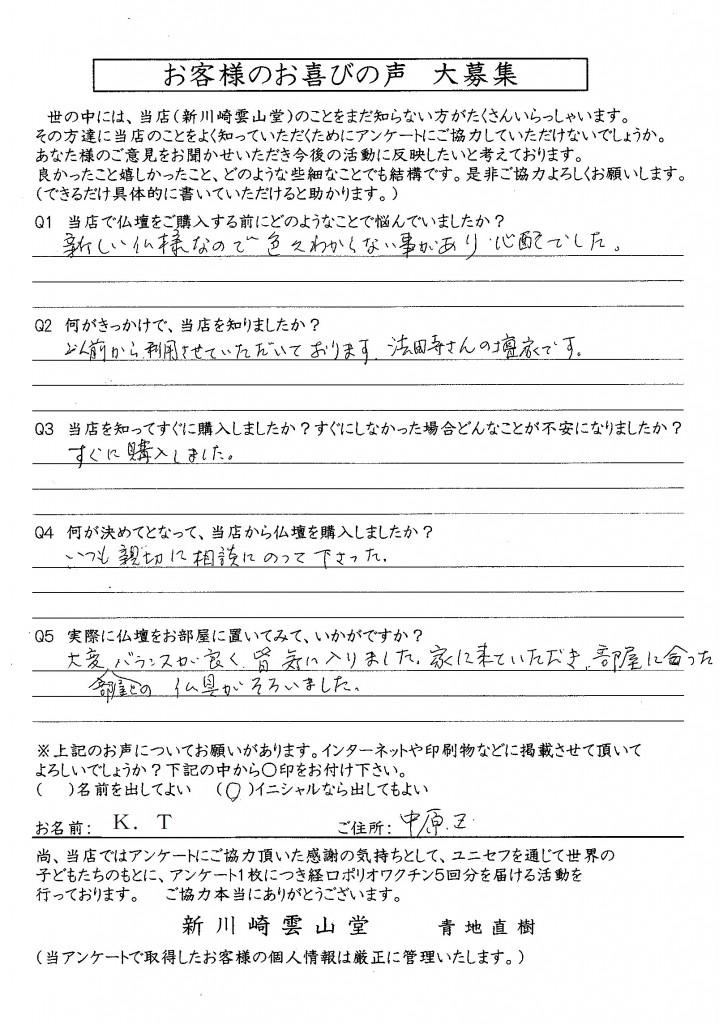 田島様アンケート(イニシャル)